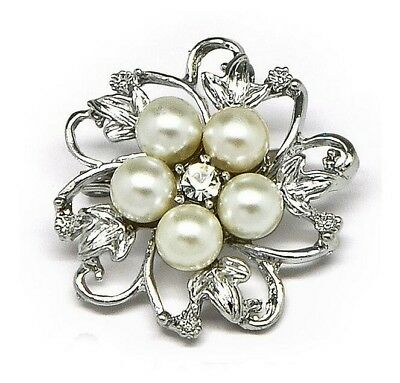 Cheap White Ivory Pearls Bridal Dress Shoes Wedding Brooch For Women Decoration • 3.24£