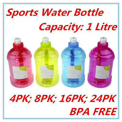 AU24.95 • Buy 1l Litre Liter Bpa Free Sports Water Bottle Handle Gym Bike Training Drink Fd