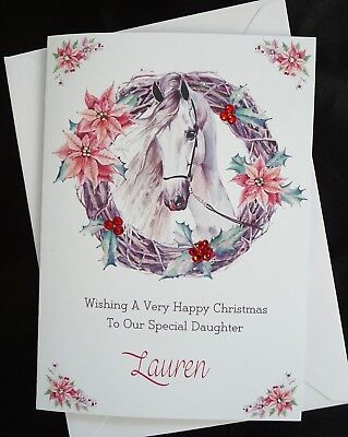 £5.75 • Buy PERSONALISED Handmade Christmas Card A5 - HORSE Equestrian  (X527)