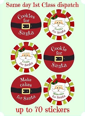 Christmas COOKIES FOR SANTA Stickers Labels Sweet Cones,xmas, Seal, Tags, X84 • 1.89£