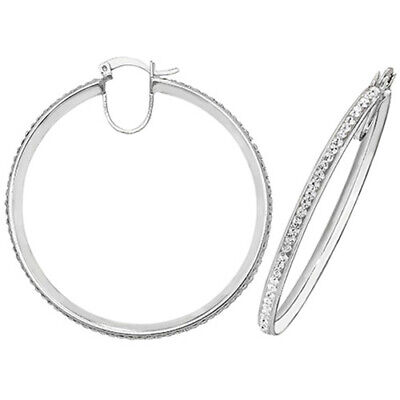 SILVER HOOP EARRINGS 47mm LARGE  CREOLE SIMULATED DIAMOND 925 STERLING SILVER • 28.95£