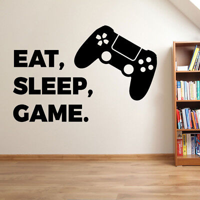 PLAYSTATION EAT SLEEP GAME Vinyl Wall Sticker Art Decal Childrens Bedroom Gaming • 9.99£