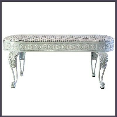 AU245 • Buy Dining Bench Iron Frame In White Color With White Color Wicker Cushion Seat NEW