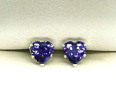 925 STERLING SILVER EARRINGS STUD 5mm HEART CREATED AMETHYST STONE   • 4.15£