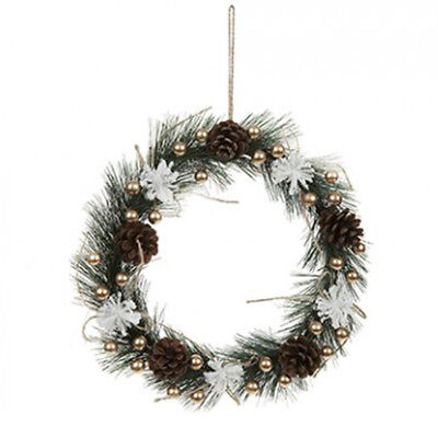 26CM Christmas Gold Pine & Berry Wreath White Flowers Chic Home Hanging • 6.29£