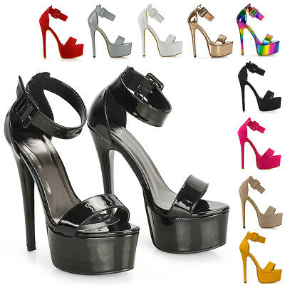 Womens Ankle Strap Open Toe Ladies Stiletto High Heel Platform Party Shoes Size • 24.99£