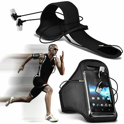 Quality Armband Phone Case+In Ear Headphones Headset✔Sports Accessory Pack✔Black • 6.95£