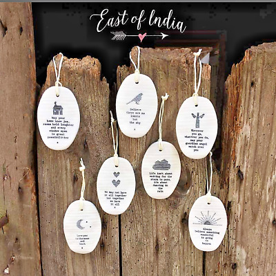 East Of India Porcelain Oval Hangers With Inspirational Message Xmas Gift Decor • 5£