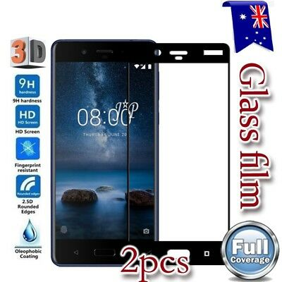 AU5.99 • Buy 2x Nokia 3 5 6 6.1 7 Plus 8 Full Coverage Tempered Glass LCD Screen Protector