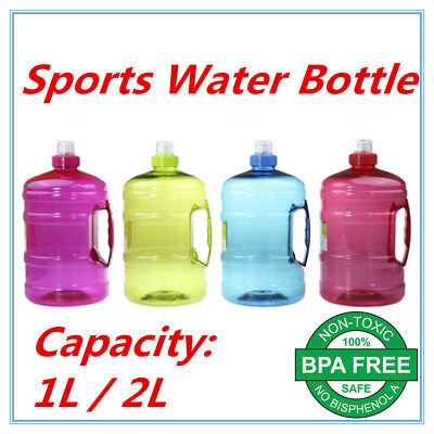 AU13.90 • Buy 1l 2l Litre Liter Bpa Free Sports Water Bottle Handle Gym Bike Training Drink