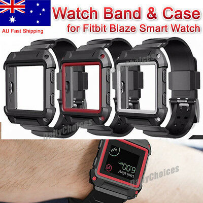 AU11.89 • Buy Rugged Protective Case With Silicone Wrist Strap Bands For Fitbit Blaze Watch