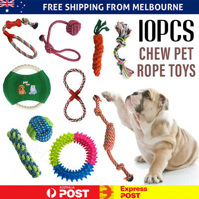 AU21.99 • Buy 10PC Pet Toys Puppy Dog Cat Durable Cotton Rope Pull Teeth Chew Rat Toy Set