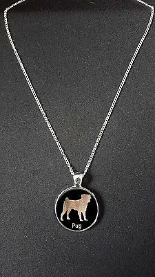 £7.99 • Buy Pug Dog Pendant On 18  Silver Plated Fine Metal Chain Necklace Gift N483