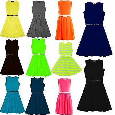 £5.99 • Buy Girls Skater Dress Kids Party Dresses With Free Belt Age 7 8 9 10 11 12 13 Years