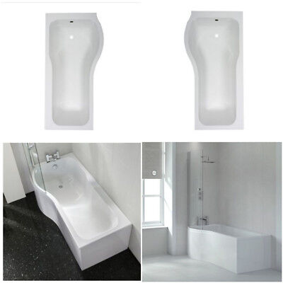 Left & Right Hand P Shaped Shower Bath 1500mm 1700mm Bath Tub With Shower Screen • 239£