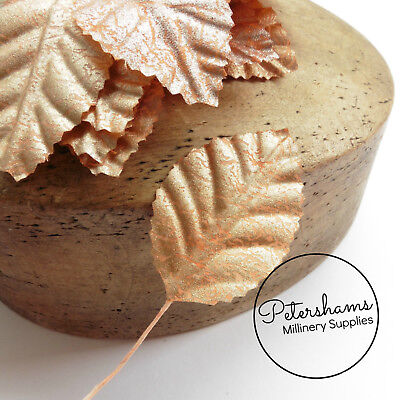 £3.25 • Buy Rose Gold Small Fabric Leaves For Tiara Making, Hats & Millinery - 12 Leaves