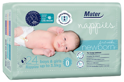 AU13.99 • Buy Mater Nappies Newborn First Weeks Size 0, Up To 3.5kg Hospital-developed, 24pack