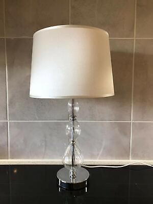 £11.99 • Buy Clear Glass Ball Table Bedside Lamp With White Sateen Shade