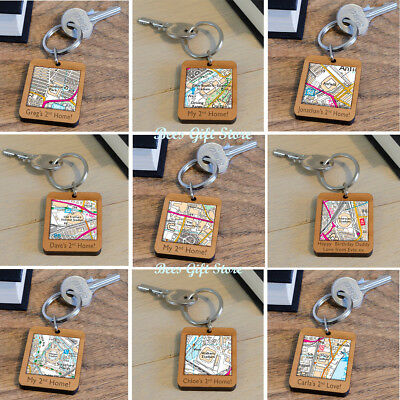£14.99 • Buy PERSONALISED Wooden FOOTBALL Ground Stadium MAP Team Keyring Gift Ideas For Fan