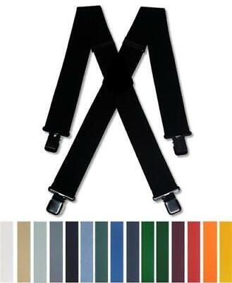 Mens Braces Heavy Duty Assorted Colours 1.5  Or 2  Work Trousers Black Clips • 14.99£