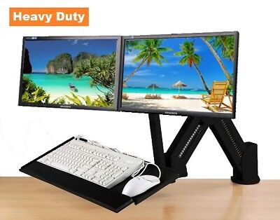 $114.95 • Buy EZM Dual Monitor And Keyboard Stand/Wall Mount Black (002-0039)