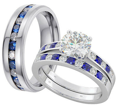 His And Hers Titanium/925 Silver Wedding Engagement Ring Set- Post From UK • 59.99£