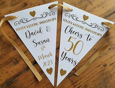 Personalised 50th Golden Wedding Anniversary Party Bunting Banner Decoration • 4.99£