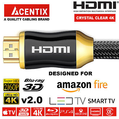 HIGHSPEED GOLD PLATED HDMI CABLE 4K @ 60HZ 2160p AMAZON FIRE SMART TV LED LCD • 57.59£