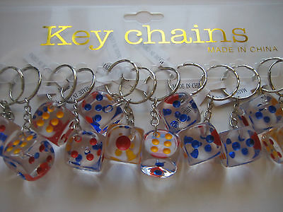 $9.49 • Buy Lot 12 Pc 18mm Dice Key Chains  / Free Shipping