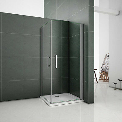 Double Frameless Pivot Door Shower Enclosure Walk In Glass Cubicle Tray Waste • 208.99£