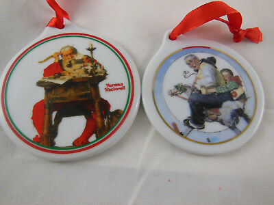 $ CDN9.81 • Buy 2 NORMAN ROCKWELL Christmas Ornaments 1999 + 1997 Curtis Publishing 3  Disk