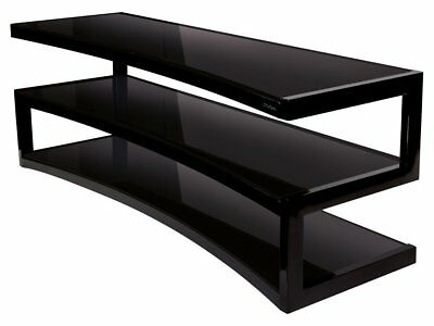 Norstone ESSE Curve TV Stand / AV Furniture In Black With Black Glass Shelves • 279.99£