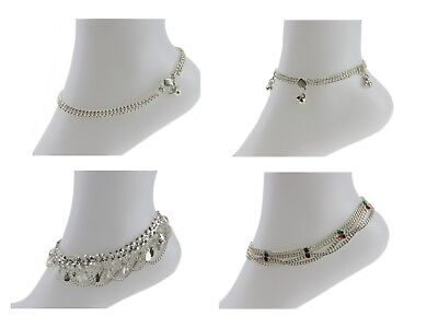 £7.99 • Buy Silver Anklet Ankle Chain Payal Indian Bell Payal Anklet Pair Foot Jewellery