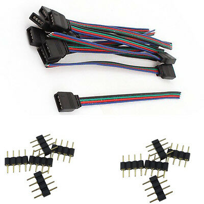 $5.95 • Buy 4 Pin Male Connectors And Female Wire Cables For 3528 5050 RGB LED Strip Lights