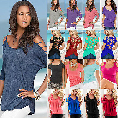 AU10.99 • Buy Womens Summer Off Cold Shoulder T-Shirt Tops Short Sleeve Casual Blouse Tee Top