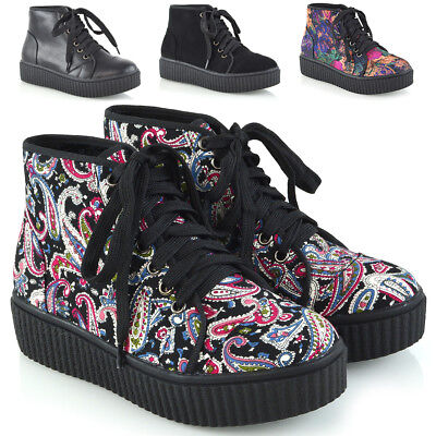 Womens Ankle Boots Lace Up Creeper Rubber Platform Ladies Combat Goth Shoes Size • 14.99£