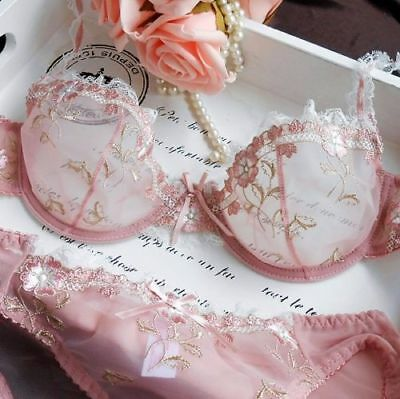 13cfce6d41 Women Floral Sheer Lace Embroidery Bra And Panty Sets Sexy Mesh Lingerie Set  • 13.99