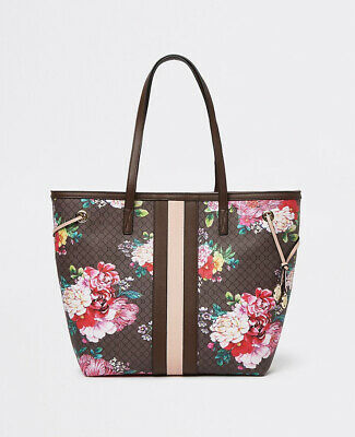 £34.99 • Buy River Island BLACK FLORAL HOLDALL BAG - Gym Weekend Bag New With Tags