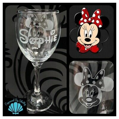 Personalised Disney Minnie Mouse Wine Glass Perfect Gift Any Name Engraved! • 17.95£