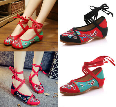 £9.23 • Buy Women Chinese Embroidered Flower Flat Shoes Mary Jane Cotton Floral Handmade New