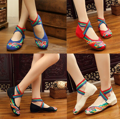 £10.03 • Buy Women Chinese Folk Embroidered Flower Flat Shoes Mary Jane Cotton Ballet Sandals