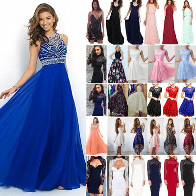 AU18.49 • Buy Women Lace Formal Dress Wedding Evening Ball Gown Party Cocktail Prom Bridesmaid