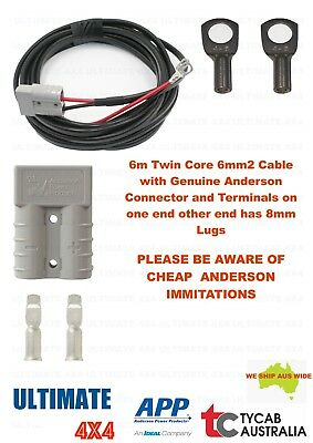 AU42 • Buy 6m Twin Core 6mm2 Cable Genuine Anderson 8mm Lug Caravan, Camping, Fridge Ext