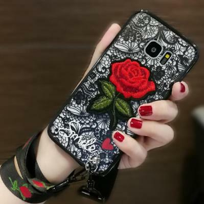 $ CDN9.31 • Buy Korean Chic Embroidery Rose Detachable Strap Case Cover For Samsung S8 + S6 S7e