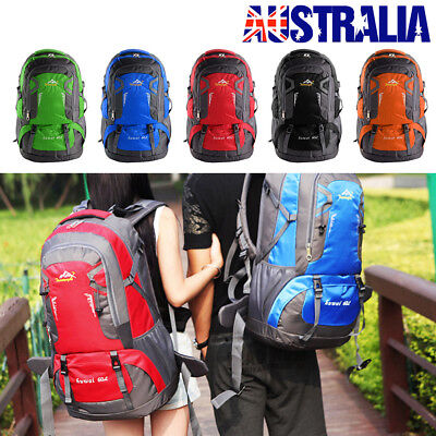 AU29.99 • Buy 60L Outdoor Backpack Hiking Bag Camping Travel Waterproof Pack Sport Rucksack CS