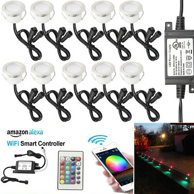 AU145.99 • Buy 10X 45mm Smart Home WIFI Control RGBW Yard LED Deck Stair Lights For Alexa Timer