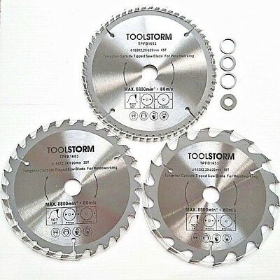 AU43.99 • Buy 3PC TCT CIRCULAR SAW BLADES 165MM  18T 30T 60T ARBOR 20/16/15.88/12.75/10mm