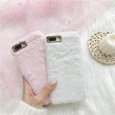 Warm Soft Faux Plush Fuzzy Fluffy Soft Fur Phone Case Cover IPhone X 7 Plus 6s 8 • 5.99£