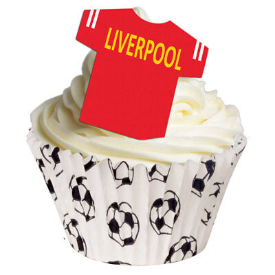 12 PRE-CUT Stand-up EDIBLE LIVERPOOL T-SHIRT Football Cake Decorations Toppers • 3.50£