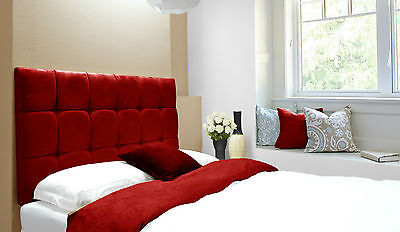 Java Buttoned Diamante Wall Headboard Faux Suede Red All Sizes & 6 Heights • 58£